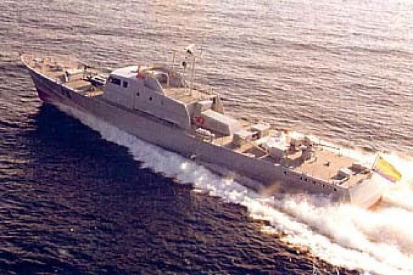 André Mauric designs, Omar Bongo, a 42m long patrol craft, exported to the Gabon and built at Chantiers de l'esterel shipyard, reaching 42kts with its 3 MTU engines.