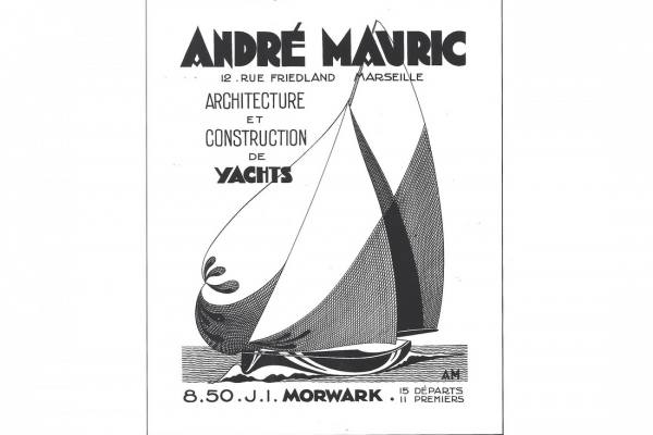 André Mauric, a legend of French sailing, started his own design office, Bureau d'études Mauric in Marseille, with two objectives: on one hand to draw sailboats, and speed motor launch on the other hand. ©Collection André Mauric